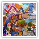 CUADROS-DE-PAISAJES-CONTEMPORANEOS.ARTISTAS.jose-manuel-merello.-fantasia-mediterranea-con-veleros-(97-x-130-cm).-mix-media-on-canvas