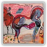 CUADROS-DE-PAISAJES-CONTEMPORANEOS.ARTISTAS.jose-manuel-merello.-horses-in-red-mix-media