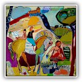 PINTURAS-DE-PAISAJES-CONTEMPORANEOS.PINTORES.jose-manuel-merello.-ninos-de-la-mancha-(73-x-92-cm)-mixed-media-on-wood..